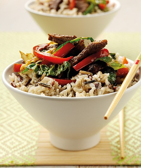 Chinese Beef Stirfry Recipe with Wild Rice