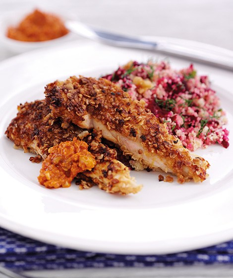 Honey Oat Chicken, Spicy Muhammara & Couscous Recipe