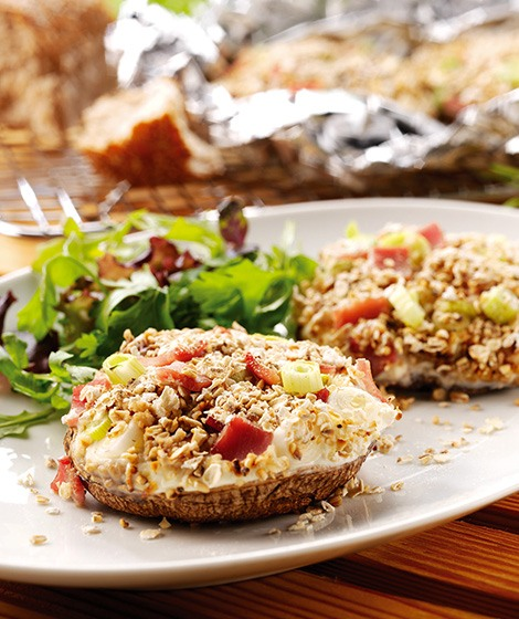 Cheese, Ham & Oat Stuffed Mushrooms