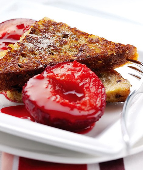 French Toast with Cinnamon & Plum Compote