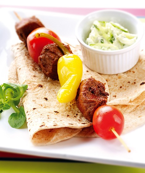 Spiced Steak Chapatti Wraps with Raita Recipe