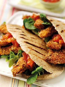 Wholemeal Pittas with Chicken Goujons & Salsa