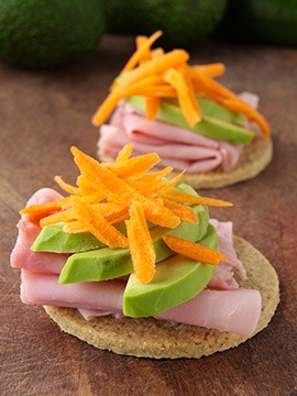Oatcakes with Ham Avocado and Carrot