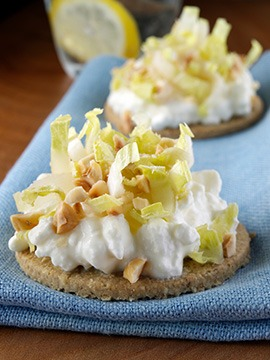Oatcakes with Cottage Cheese Hazelnut and Chicory Leaf